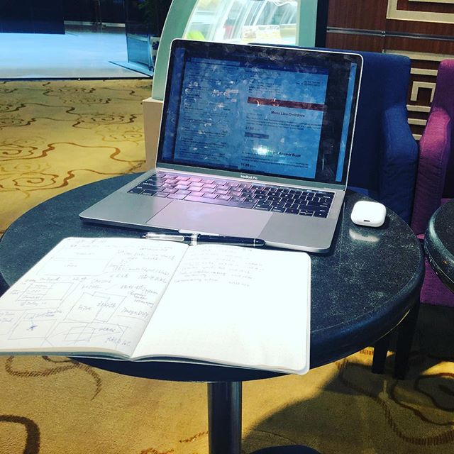 Working at hotel lobby. It is a productive boost when battery level acts as count down.
