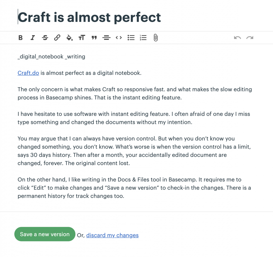 Writing interface in Basecamp.